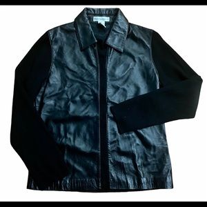 Drapers & Damons Leather and Sweater Shirt Jacket